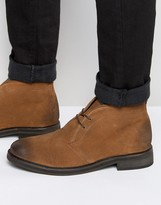 Asos Lace Up Chukka Boots In Burnished Tan Suede