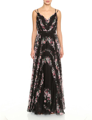 Marchesa Notte Floral Print Sleeveless Pleated Chiffon Gown