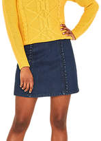 Oasis Structured Frill Mini Skirt, Dark Wash