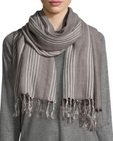 Eileen Fisher Blanket Striped Serape Scarf, Ash