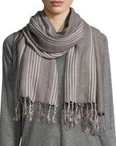 Eileen Fisher Blanket Striped Serape Scarf, Ash