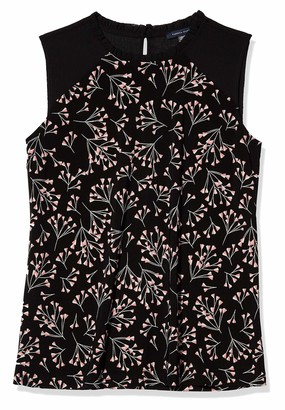 Tommy Hilfiger Women's Floral Mixed Media Ruffle Sleeveless Top