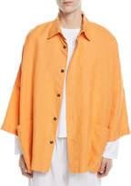 eskandar Sloped-Shoulder 3/4-Sleeve Linen Jacket