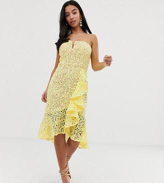 Jarlo Petite all over lace square neck ruffle mini dress in lemon