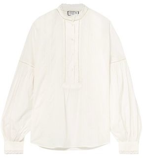 Paul & Joe Lace-trimmed Pintucked Cotton-voile Blouse