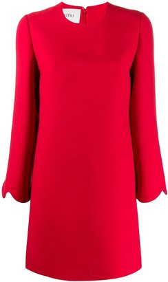 Valentino scalloped sleeves shift dress