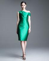 Lela Rose Asymmetric Folded Satin Dress