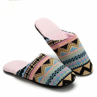 Overdose Home Ladies' Comfort Fleece Memory Foam Slippers Fuzzy Plush Slip On Anti-Skid Sole Bohemia Style Shoes for Indoor Outdoor Pink