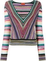Missoni V-neck zig-zag stripe jumper - women - Nylon/Spandex/Elastane/Rayon - 40