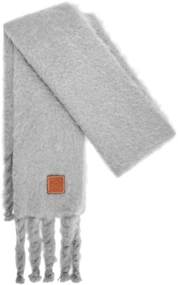Loewe Knit Mohair Blend Fringed Scarf