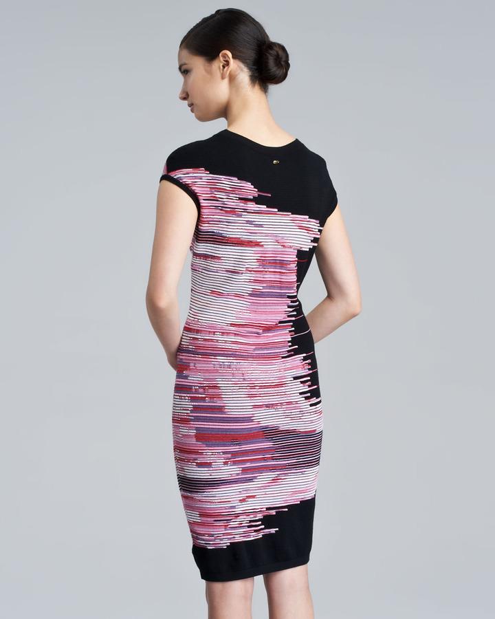 Escada Mixed-Knit Cap-Sleeve Dress