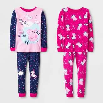 Peppa Pig Toddler Girls' 4pc Long Sleeve Pajama Set -