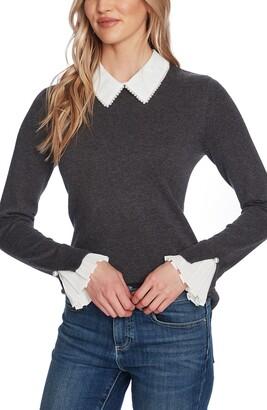 CeCe Imitation Pearl Peter Pan Collar Cotton Sweater