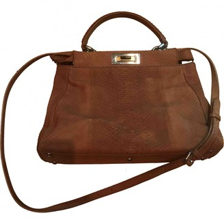 Fendi Peekaboo Brown Python Handbags