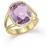 Vianna Brasil 18K Yellow Gold Ring with Amethyst and Diamond Accents
