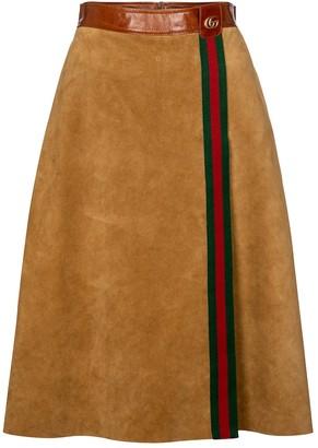 Gucci High-rise suede midi skirt