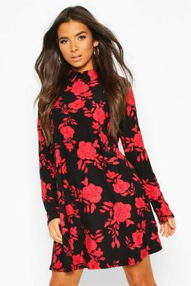 boohoo Soft Touch Knitted Floral Swing Dress