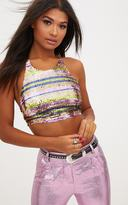 PrettyLittleThing Rainbow Stripe Sequin Lace Up Back Crop Top