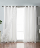 Best Home Fashion White Tulle Overlay Curtain Panel Set
