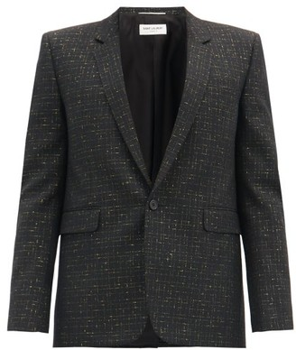 Saint Laurent Lame-checked Wool-blend Blazer - Black Gold