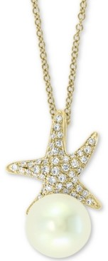 "Effy Cultured Freshwater Pearl (8mm) & Diamond (1/6 ct. t.w.) Starfish 18"" Pendant Necklace in 14k Gold"