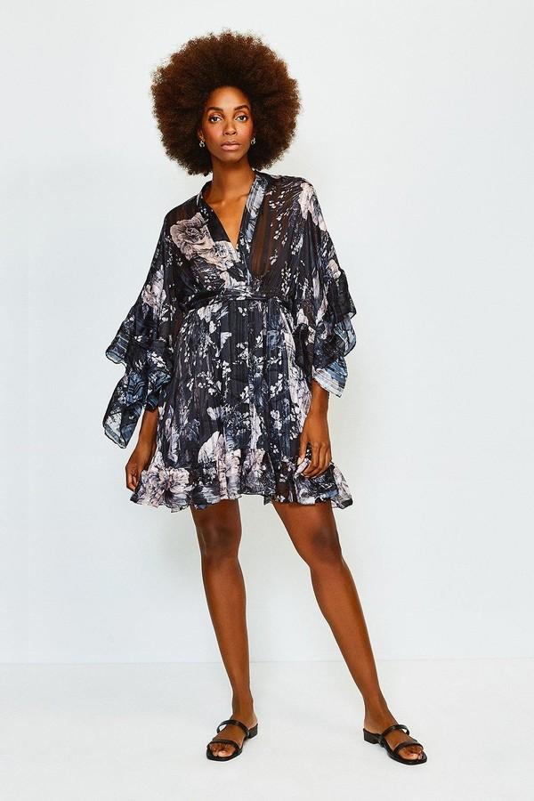 Karen Millen Print Flute Sleeve Wrap Short Dress