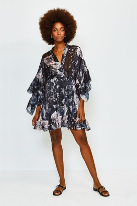 Karen Millen Printed Fluted Sleeve Wrap Short Dress