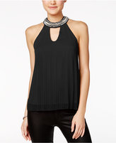 Miss Chievous Juniors' Embellished Pleated Cutout Top