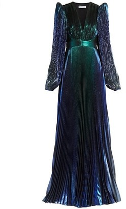 Givenchy Pleated Lame Puff-Sleeve Gown