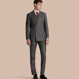 Burberry Modern Fit Travel Tailoring Brushed Wool Trousers , Size: 56, Grey