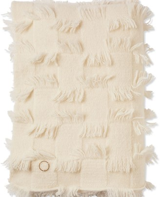Oyuna Seren Knitted Hand Cut Fringed Cashmere Throw Ivory
