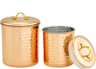 Old Dutch 2Pc Copper Hammered Storage Canisters