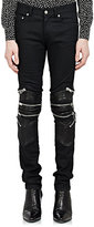 Saint Laurent Men's Leather-Trimmed Moto Jeans-BLACK