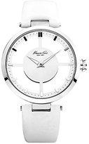 """Kenneth Cole New York Women's KC2609 """"Transparency"""" Stainless Steel Watch with White Leather Band"""