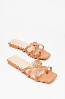 Nasty Gal Womens You Toe What We Mean Faux Leather Flat Sandals - Camel