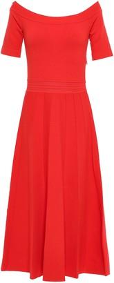 Lela Rose Off-the-shoulder Pointelle-trimmed Stretch-knit Midi Dress