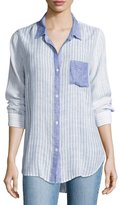 Rails Charli Trio Stripe Linen Top, Blue Pattern