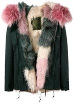 Mr & Mrs Italy - Multi Pink Dark Green Fox Fur Lined Jacket - women - Cotton/Fox Fur/Lamb Skin/Viscose - XXS