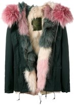 Mr & Mrs Italy Short Dark Green & Pink Fur Lined Parka