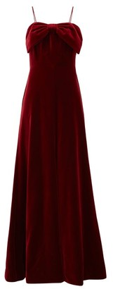 The Vampire's Wife The Velvet Bow-trim Cotton Gown - Womens - Burgundy