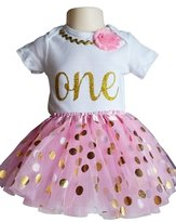 Perfect Pairz 1st Birthday Outfit Baby Girl Tutu - Metallic Dots on Pink