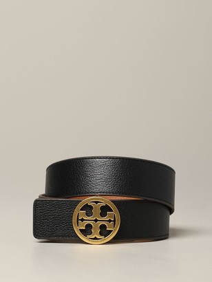 Tory Burch Leather Belt With Metallic Logo