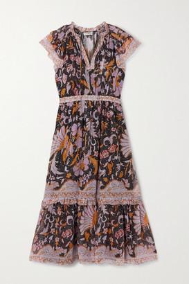 Ulla Johnson Celestia Ruffled Printed Fil Coupe Silk And Lurex-blend Dress - Midnight blue