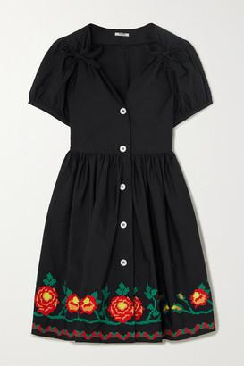 Miu Miu Embroidered Cotton-blend Poplin Mini Dress - Black