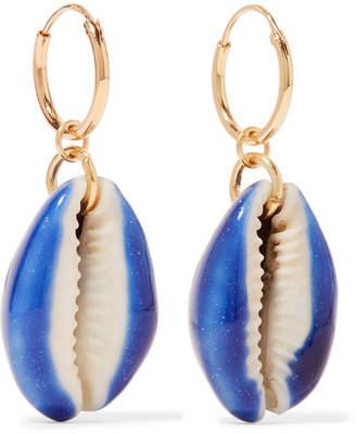 Aurelie Bidermann Merco Gold-plated Shell Earrings - Blue