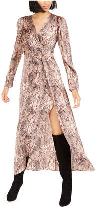 Bar III Becca Tilley x Snake-Print Twist-Front Dress