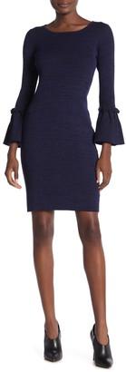 Nina Leonard Ribbed Knit Bell Sleeve Dress
