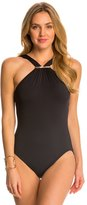 Michael Kors Swimwear Draped Solids Long Bar High Neck One Piece Swimsuit 8142800