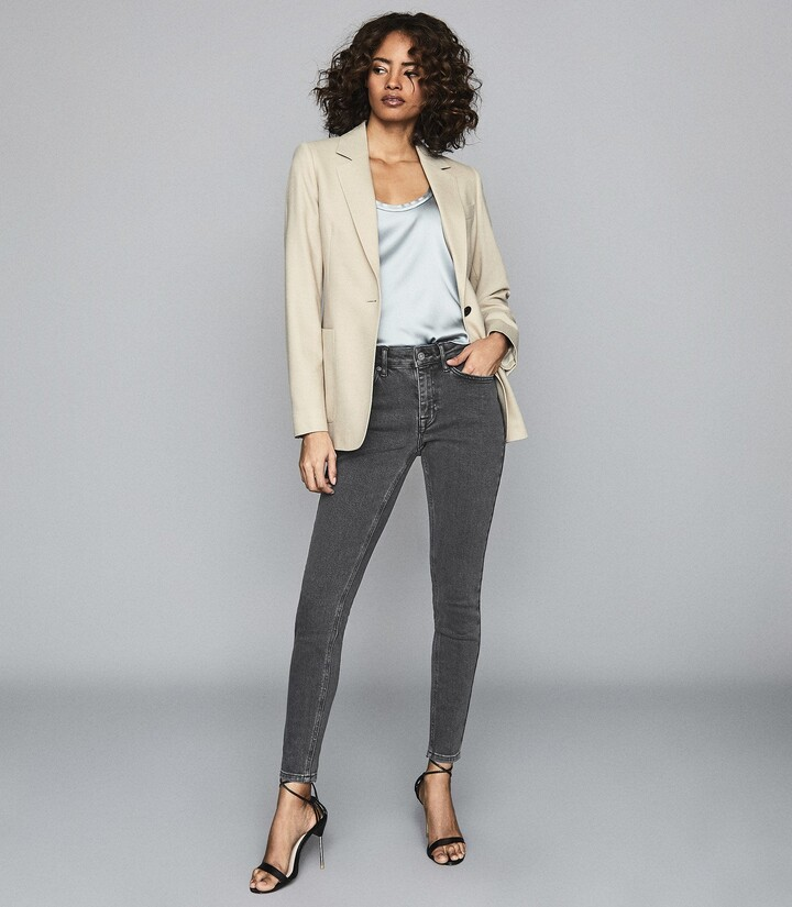 Reiss Lux - Mid Rise Skinny Jeans in Grey