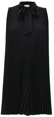 RED Valentino Pleated Crepe Dress - Womens - Black